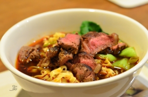 Easy spicy noodle soup with seared steak