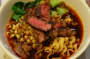 Easy hot and sour noodle soup with seared steak